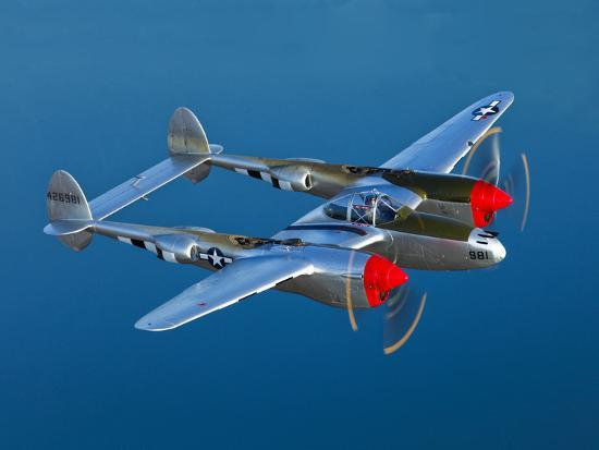 A Lockheed P-38 Lightning Fighter Aircraft in Flight-Stocktrek Images-Photographic Print