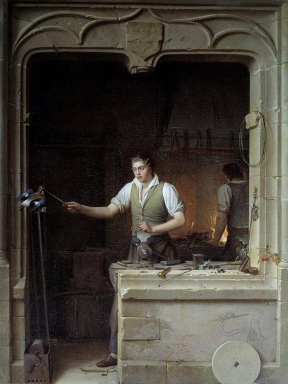 A Locksmith Seeking to Make a Jay Bite His Metal File by Jean Antoine Laurent--Photographic Print