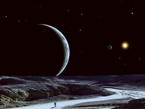A Lone Explorer Follows an Ancient Riverbed While His Planet Floats in the Black Star-Filled Sky