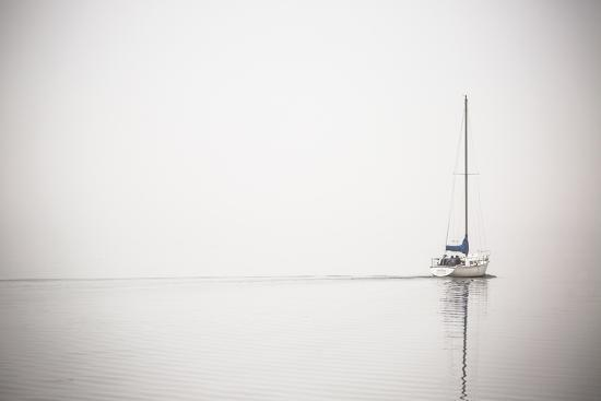 A Lone Sailboat Motors Through Morning Fog on the Occoquan River, Near the Potomac River-Kent Kobersteen-Photographic Print