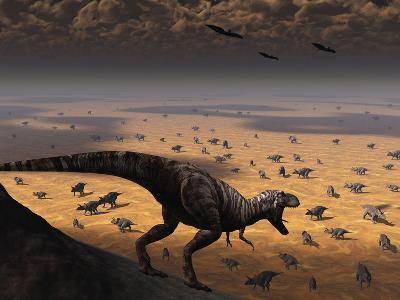 A Lone T. Rex Looks Down on a Large Herd of Triceratops-Stocktrek Images-Photographic Print