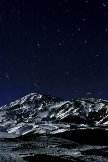 A Long Exposure Image Captured Star Trails around the North Celestial Pole over Mount Damavand-Babak Tafreshi-Photographic Print