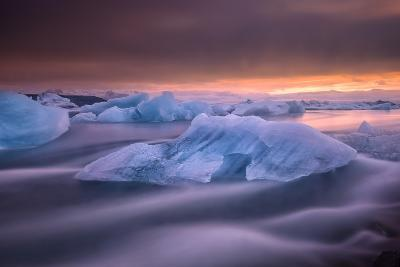 A Long Exposure of a Sunset over Glacier Bay in Iceland-Keith Ladzinski-Photographic Print