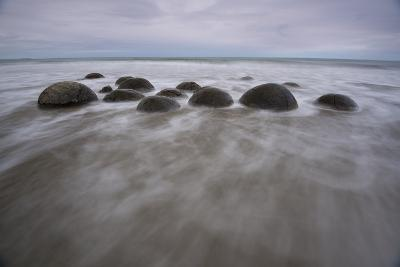 A Long Exposure of the Moeraki Boulders on the South Island Along a Stretch of Koekohe Beach-Michael Melford-Photographic Print