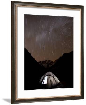 A Long Exposure Reveals the Earth Rotation Above Tents at Jhangothang-Alex Treadway-Framed Photographic Print