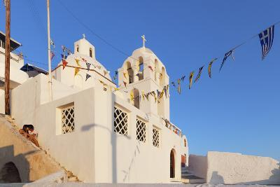 A Lovers Corner in Fira, Santorini, Next to a Historic Church, Overlooking the Mediterranean-Babak Tafreshi-Photographic Print