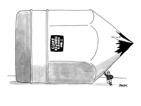 A lumberjack leans against gigantic pencil labeled 'Giant Sequoia Brand No? - New Yorker Cartoon-Jack Ziegler-Premium Giclee Print