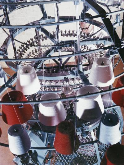 A Machine Collects Coloured Yarn onto Rolls-Heinz Zinram-Photographic Print
