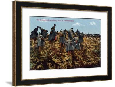 """A Machine Gun Company Moved into Position"", 1915--Framed Giclee Print"