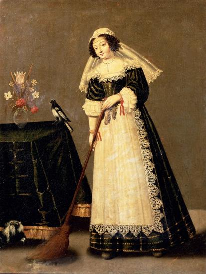 A Maid with a Broom--Giclee Print