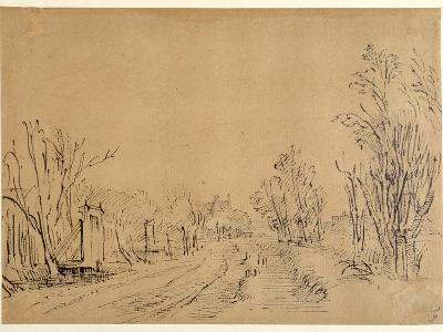 A Main Road Leading to a House Through Trees (Two Bridges and Gate Accesses to the Dijk) (Pen and I-Rembrandt van Rijn-Giclee Print