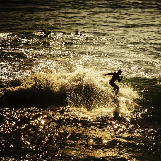 A Male Surfer Rides A Wave In The Pacific Ocean Off The Coast Of Santa Cruz This Image Tinted-Ron Koeberer-Photographic Print