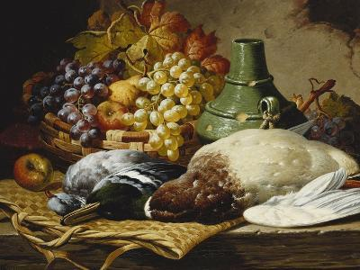 A Mallard and a Woodpigeon with a Basket of Apples and Grapes on a Wooden Ledge-Charles Thomas Bale-Giclee Print