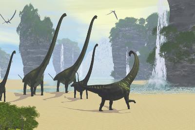 A Mamenchisaurus Dinosaur Herd Grazing Along a Lake-Stocktrek Images-Art Print