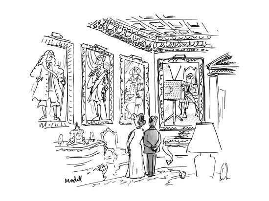 A man & a woman stand in an ornate room 13 in 18th century costume, one of? - New Yorker Cartoon-Frank Modell-Premium Giclee Print