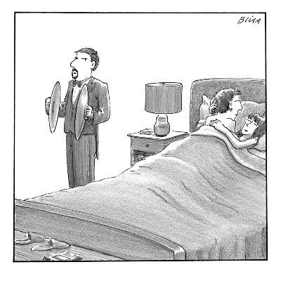 A man and a woman lie in bed. Another man stands next to them holding cymb? - New Yorker Cartoon-Harry Bliss-Premium Giclee Print