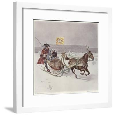 A Man and a Woman Riding a Horse-Drawn Sledge-Louis Vallet-Framed Giclee Print