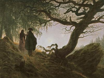 A Man and Woman Contemplating Moon-Caspar David Friedrich-Giclee Print