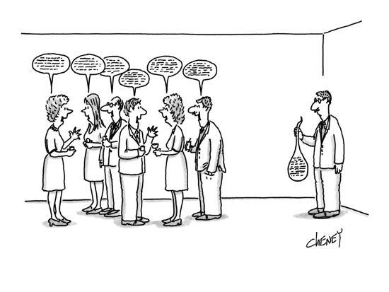 A man at a cocktail party with his 'speech balloon' limp in his hand.  The? - New Yorker Cartoon-Tom Cheney-Premium Giclee Print