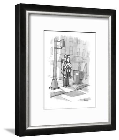 A man carries his grandfather and child in a baby backpack. - New Yorker Cartoon-Jason Patterson-Framed Premium Giclee Print