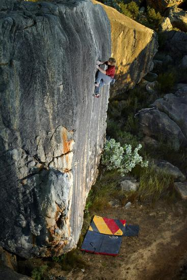 A Man Climbs Creaking Heights, a Highball Boulder Problem in the Cederberg Wilderness Area-Keith Ladzinski-Photographic Print