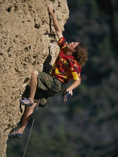 A Man Climbs Sheep Reaction in Ten Sleep Canyon-Bobby Model-Photographic Print