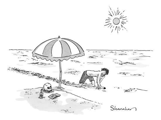 A man crawling through the desert comes across a skeleton buried up to the… - New Yorker Cartoon-Danny Shanahan-Premium Giclee Print