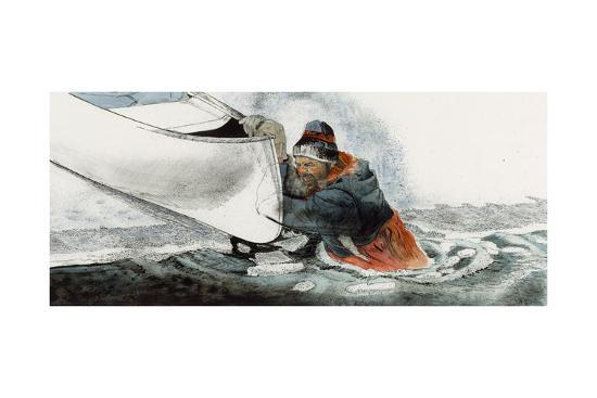 A Man Falls Through Ice on the Noatak River-Jack Unruh-Giclee Print