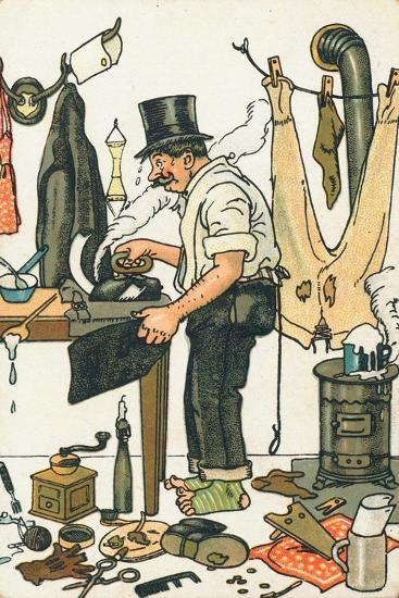 A Man Ironing His Clothes--Giclee Print