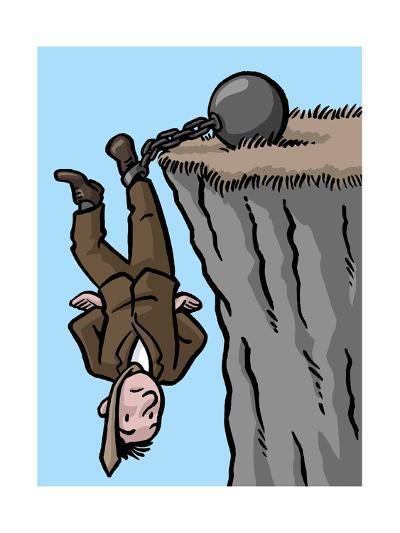 A man is saved by his shackles - Cartoon-Christoph Niemann-Premium Giclee Print