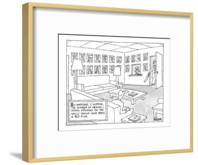 A man is seen sitting in a waiting room covered in diplomas with a doctor ? - New Yorker Cartoon-Jack Ziegler-Framed Premium Giclee Print