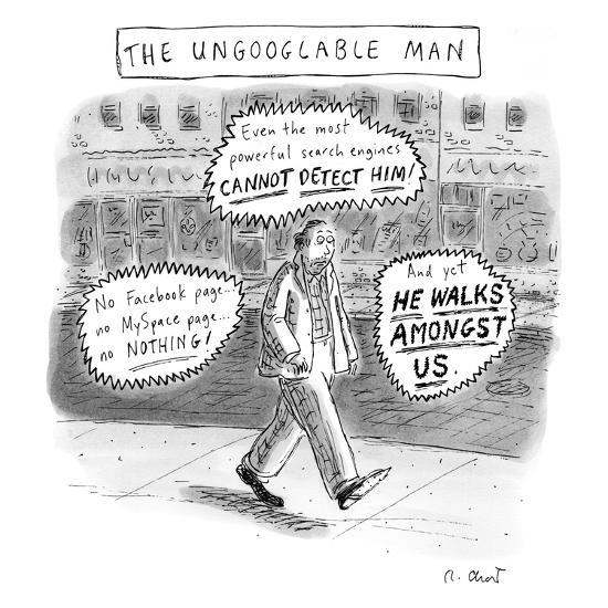 A man is seen walking down the sidewalk with word bubbles around him decla? - New Yorker Cartoon-Roz Chast-Premium Giclee Print