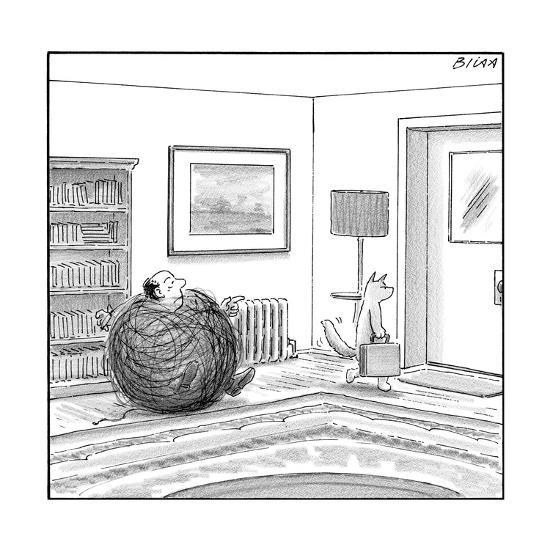 A man is stuck in a yarn ball and his cat leaves the room holding a briefc - New Yorker Cartoon-Harry Bliss-Premium Giclee Print