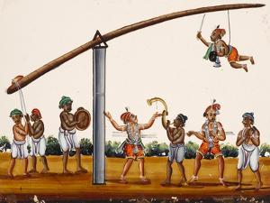 A Man Mimicing Hanuman, the Monkey God of the Ramayana Epic, in a Circus-Like Activity, from…