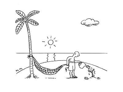 A man on a desert island waters  a tree hoping to use it for his hammock. - New Yorker Cartoon-Matthew Martin-Premium Giclee Print