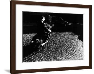 A Man on a Moped Speeding over Cobblestones in Rome-Chris Hill-Framed Photographic Print