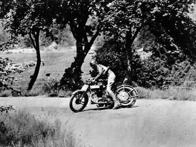 A Man on a Norton Bike Taking Part in the Belgian Grand Prix, 1924--Photographic Print