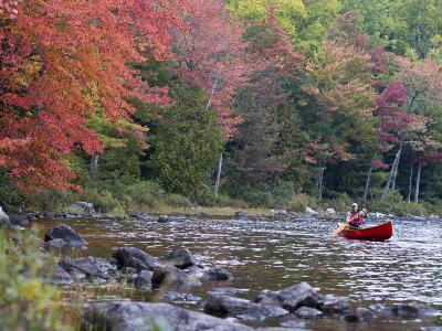 A Man Paddles His Canoe, Seboeis Lake, Millinocket, Maine, USA-Jerry & Marcy Monkman-Photographic Print