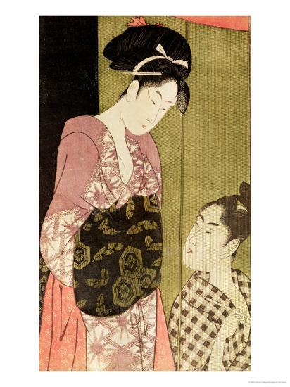 A Man Painting a Woman-Kitagawa Utamaro-Giclee Print