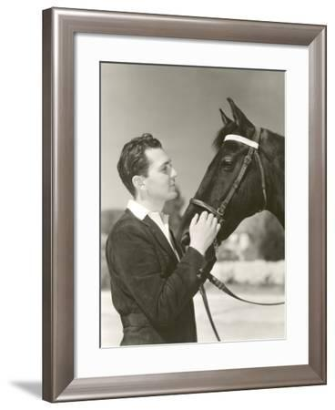 A Man Petting His Horse--Framed Photo