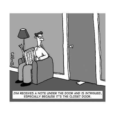 A man receives a note from under the closet door.  - New Yorker Cartoon--Premium Giclee Print