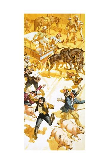 A Man Runs Through the Streets of San Francisco Announcing the Discovery of Gold-Angus Mcbride-Giclee Print