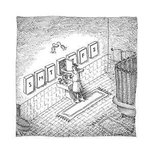 A man's bathroom medicine cabinets are labeled like a daily pillbox.  - New Yorker Cartoon