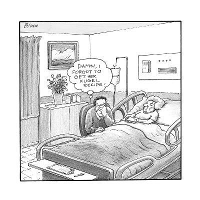 "A man sitting beside a deceased old lady in a hospital bed, thinks ""Damn, ? - New Yorker Cartoon--Premium Giclee Print"