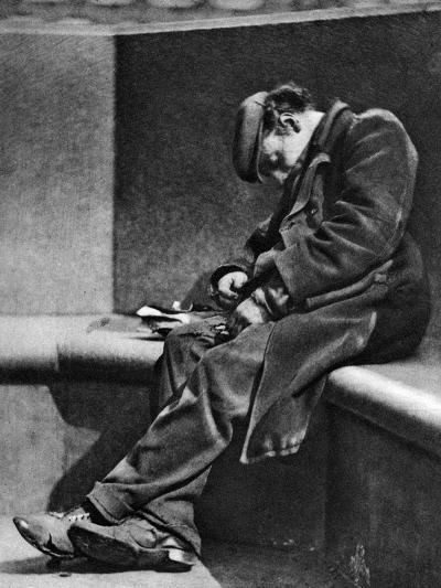 A Man Sleeping on Blackfriars Bridge, London, 1926-1927-Walter Benington-Giclee Print