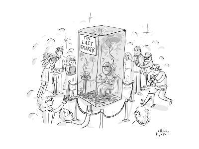 """(A man smokes cigarettes in a glass box with a sign that reads """"The Last S? - New Yorker Cartoon-Farley Katz-Premium Giclee Print"""