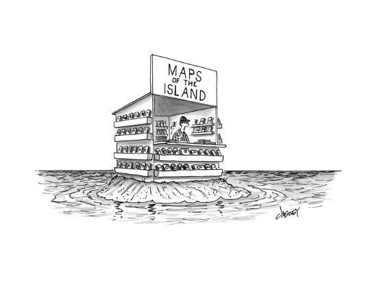 """A man stands in a shop on a desert island with a sign that reads """"Maps of ... - New Yorker Cartoon-Tom Cheney-Premium Giclee Print"""
