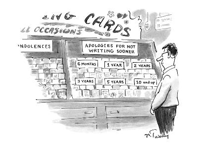 A man stands in front of a greeting card stand in a store.  There is a sig? - New Yorker Cartoon-Mike Twohy-Premium Giclee Print