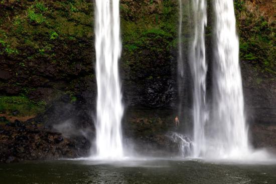 A Man Stands under Wailua Falls-Ben Horton-Photographic Print