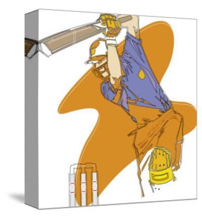 A Man Swinging a Cricket Bat